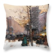 Paris, Porte Saint Denis In Winter Throw Pillow