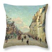 Paris Quai De Bercy Snow Effect Throw Pillow