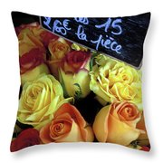 Paris Roses Throw Pillow by Kathy Yates