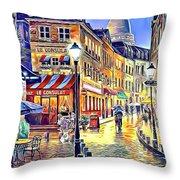 Paris Street Abstract 2 Throw Pillow