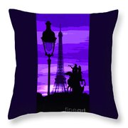 Paris Tour Eiffel Violet Throw Pillow