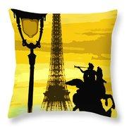 Paris Tour Eiffel Yellow Throw Pillow