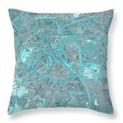 Paris Traffic Abstract Blue Map Throw Pillow