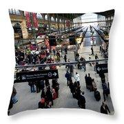 Paris Train Station Throw Pillow
