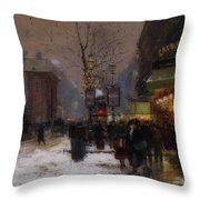 Paris Winter Scene Throw Pillow