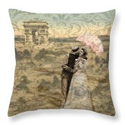 Paris With A Kiss Photo Collage Throw Pillow