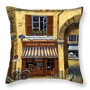 Parisian Bistro And Butcher Shop Throw Pillow by Marilyn Dunlap