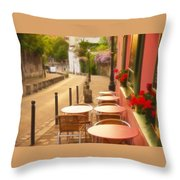 Parisian Cafe' Sunset Throw Pillow