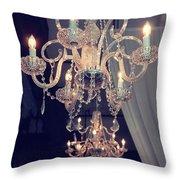 Parisian Crystal Chandelier - Chandelier In Window - Paris Gold Crystal Chandelier Decor Throw Pillow