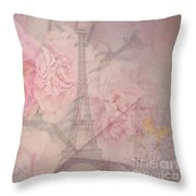 Parisian Romantic Collage Throw Pillow