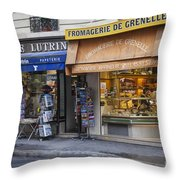 Parisian Shops Throw Pillow