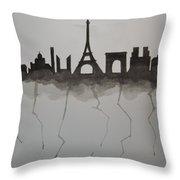 Parisian Skyline Silhouette Throw Pillow