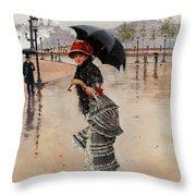 Parisienne On A Rainy Day Throw Pillow