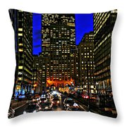 Park Avenue At Night Throw Pillow