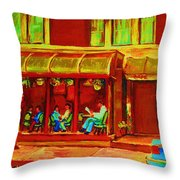 Park Avenue Montreal Cafe Scene Throw Pillow