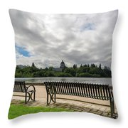 Park Bench Along Capitol Lake In Olympia Washington Throw Pillow