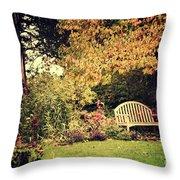 Park Bench, Fall Throw Pillow