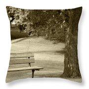 Park Bench In A Park Throw Pillow