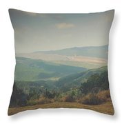 Park Bench Series - Misty Mountains Throw Pillow