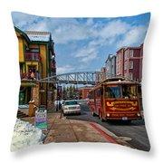 Park City Trolley Car Throw Pillow