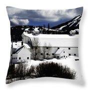 Park City White Barn Throw Pillow by La Rae  Roberts
