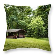 Park Shelter In Lush Forest Landscape Throw Pillow