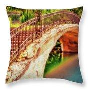 Park Walk Bridge Throw Pillow
