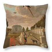 Park With Country House, Jan Weenix, 1670 - 1719 Throw Pillow