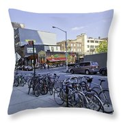 Parked Bikes In Dumbo Throw Pillow
