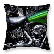 Parked Harleys Throw Pillow
