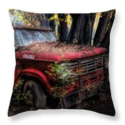 Parked On A Country Road Oil Painting Throw Pillow
