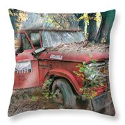 Parked On A Country Road Watercolors Painting Throw Pillow