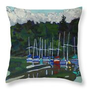 Parked Yachts Throw Pillow