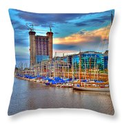 Parking Boat - Puerto Madero Throw Pillow