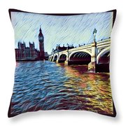 Parliament Across The Thames Throw Pillow