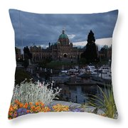 Parliament Building In Victoria At Dusk Throw Pillow