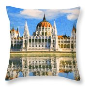 Parliament Of Budapest Throw Pillow