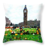 Parliament Square London Throw Pillow