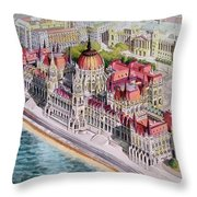 Parliment Of Hungary Throw Pillow by Charles Hetenyi