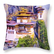 Paro Taktsang Monastery Bhutan Throw Pillow