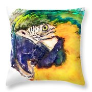 Parrot Ara Watercolor Painting Throw Pillow