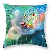 Parrot Fish - Through A Bubble Throw Pillow