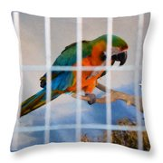 Parrot In A Cage Throw Pillow