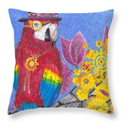 Parrot In Gear Tree Throw Pillow