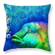 Parrotfish - Rainbow Spirit Throw Pillow