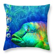 Parrotfish - Rainbow Spirit Throw Pillow
