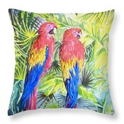 Parrots In Jungle Throw Pillow