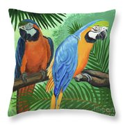 Parrots In Light And Shade Throw Pillow