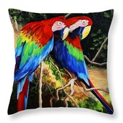 Parrots In The Jungle Throw Pillow