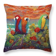 Parrots On Sunset Beach Throw Pillow